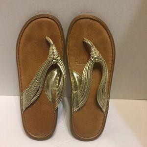 0d952433c Born Shoes - Born Women s Gold Flip Flops Sandals Size 10